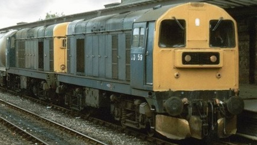 20159 and another Class 20 at Shrewsbury in October 1986. ©David Hitchborne