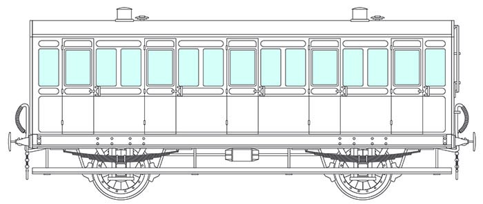 4-wheel 5 compartment coach