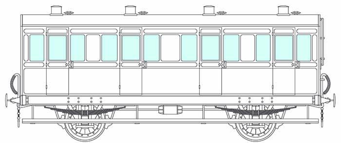 4-wheel 4 compartment coach