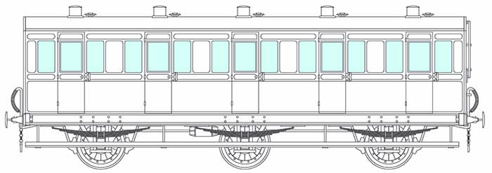6-wheel 5 compartment coach