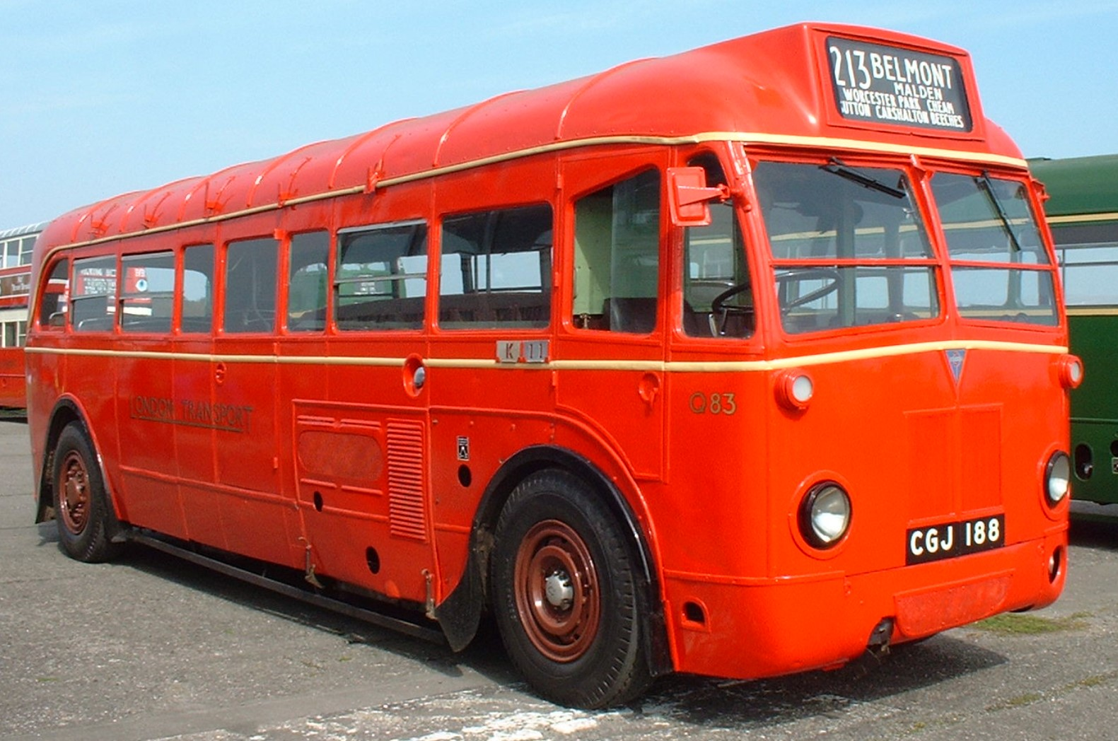 Q83 reg CGJ 188 at the Cobham Bus Museum in March 2006. ©James Race