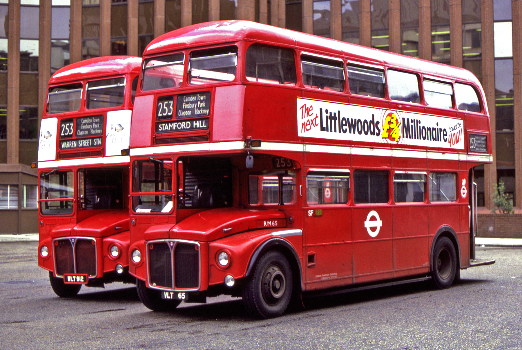 Two Routemasters on route 253 in September 1983. ©TedQuackenbush