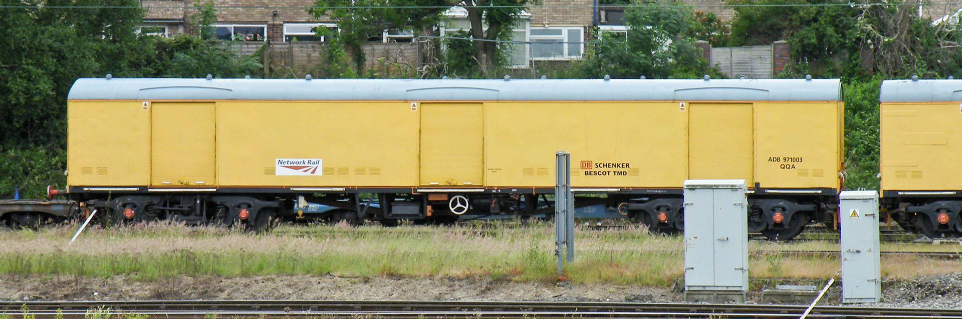 QQA Breakdown Train support coach ADB 971003 at Bescot in June 2013. © Dan Adkins
