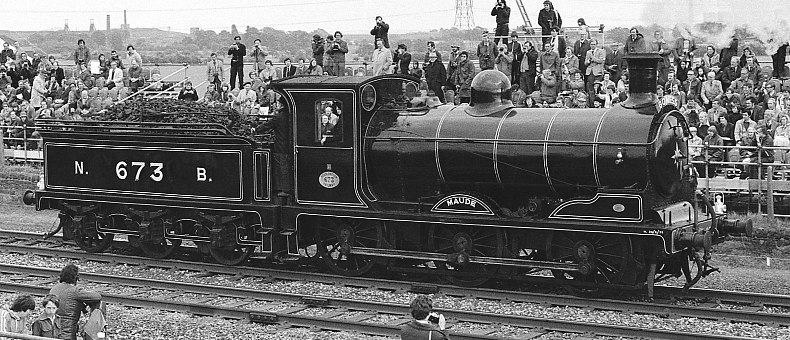 """Preserved No. 673 """"Maude"""" at Rainhill in 1980. ©Barry Lewis"""
