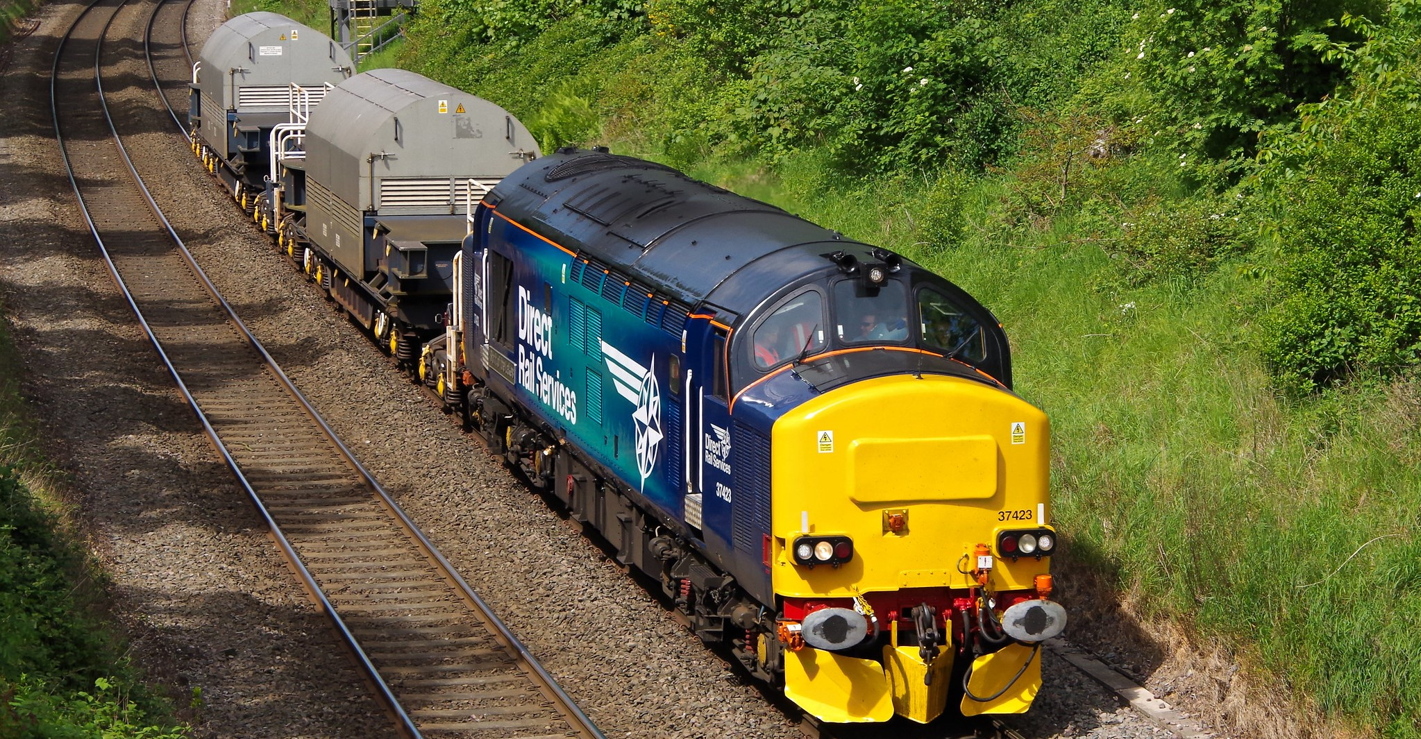 37423 hauls two Nuclear Flask wagons to Devonport in May 2014.  ©Clagmaster