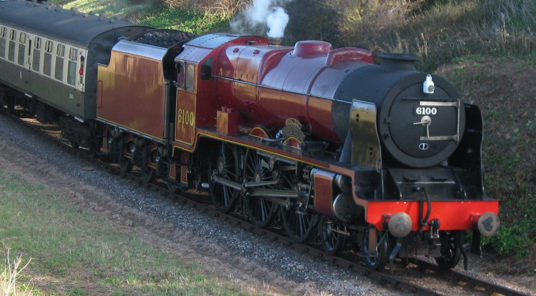 6100 'Royal Scot' at Watchet on the West Somerset Railway in March 2009. ©Andrew Bone
