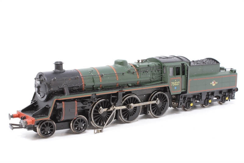 www.hattons.co.uk - Bachmann Branchline 31-107-PO13 Standard Class 4MT 4-6-0 75027 with BR2 tender in BR lined green with late crest - Pre-owned - loose running gear in box - glitter under wheels - missing coupling hooks - Fair box