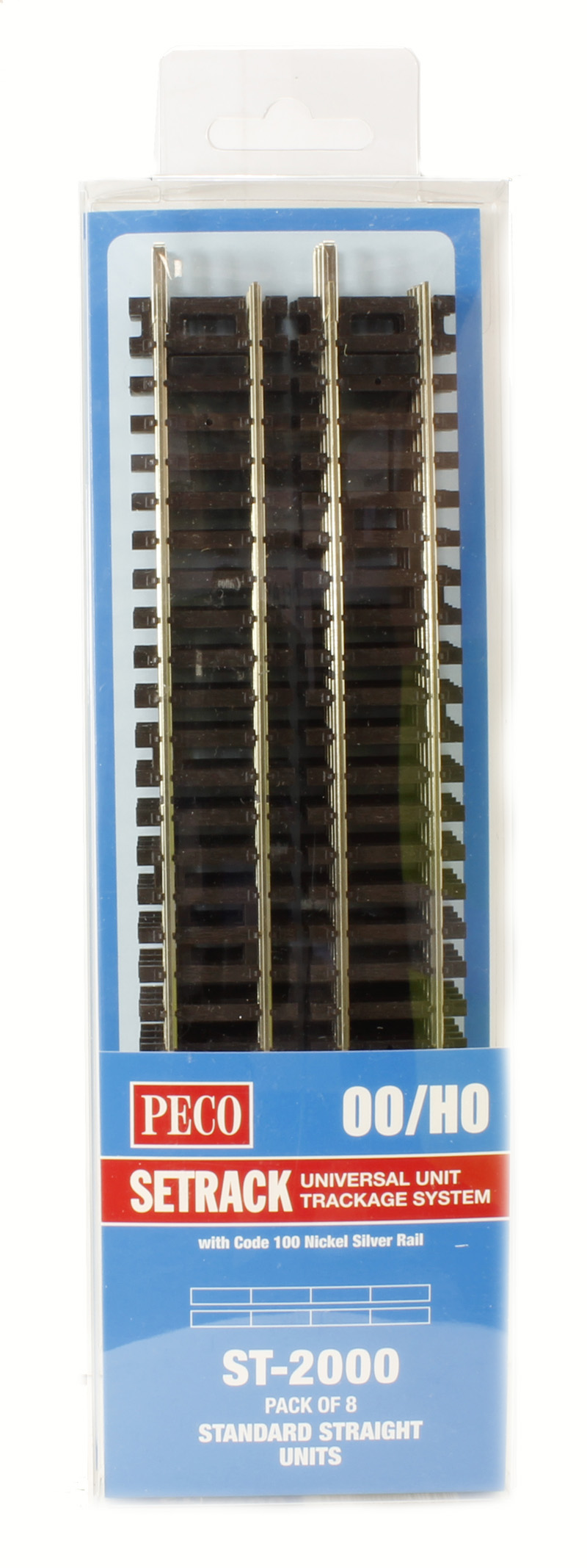 PECO SETRACK OO//HO ST-2000 PACK OF 8 STANDARD STRAIGHT UNITS CODE 100