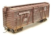 Athearn 1771ATH-PO 40' stock car #55405 of the Great Northern Railroad - Pre-owned - kit-built - weathered - replacement box