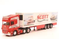 "Corgi CC18102-PO09 Scania R Series Topline Fridge ""Scott Trawlers"". ""Roadscene"" range - Pre-owned - missing wing mirrors - very good box"