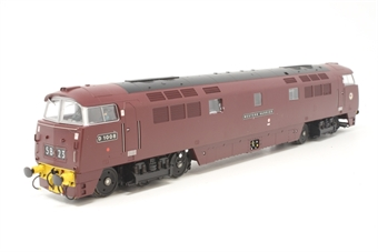 """4D-003-014D-PO01 Class 52 'Western' D1008 """"Western Harrier"""" in BR maroon with yellow bufferbeams - DCC fitted - Pre-owned - minor glue marks around name/number plates and window - one glazing panel loose - one number plate damaged - very good box"""