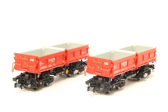 """853010-PO Set of 2 Type Fans128 high capacity self unloading hopper wagons of the DB AG in red """"Railion"""" livery - Pre-owned - Good box"""