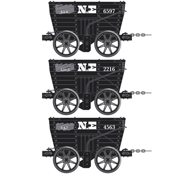 ACC2800-A 4 wheel Chaldron open wagons in North Eastern Railway livery - circa 1890 - pack of 3