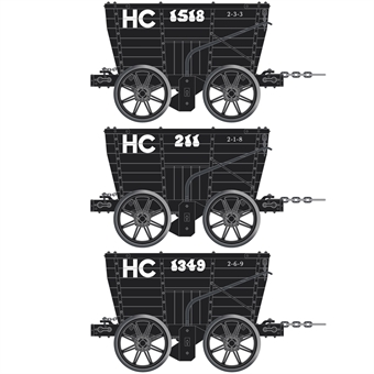ACC2801-B 4 wheel Chaldron open wagons in Hetton Colliery Railway livery - circa 1910 - pack of 3