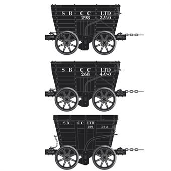 ACC2802-C 4 wheel Chaldron open wagons in Seaton Burn Coal Co. livery - circa 1902 - pack of 3