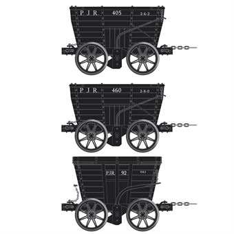 ACC2803-D 4 wheel Chaldron open wagons in Pontop and Jarrow Railway livery - circa 1910 - pack of 3