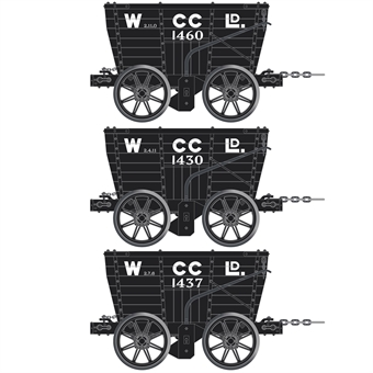 ACC2804-E 4 wheel Chaldron open wagons in Wearmouth Coal Co. livery - circa 1900-1930 - pack of 3