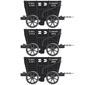ACC2805-F 4 wheel Chaldron open wagons in Lambton Collieries livery - circa 1890 - pack of 3