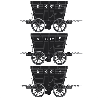ACC2806-G 4 wheel Chaldron open wagons in Stella Coal Co. livery - circa 1950s - pack of 3