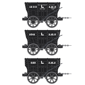 ACC2807-H 4 wheel Chaldron open wagons in Londonderry Colleries livery - circa 1960s - pack of 3