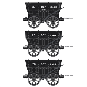 ACC2808-I 4 wheel Chaldron open wagons in Seaham Dock Co. livery - circa 1950s - pack of 3