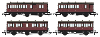 H4-46Pack-1201L Pack of 4 coaches (4BT, 4T, 6CL, 6BT) in Midland Railway Crimson Lake - with working lighting