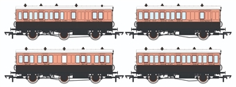 H4-46Pack-1301L Pack of 4 coaches (4BT, 6FL, 4T, 6BT) in LSWR Salmon and Brown - with working lighting