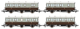 H4-46Pack-801L Pack of 4 coaches (4BT, 4T, 6CL, 6BT) in GCR French Grey and brown - with working lighting