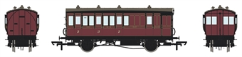 H4-4BT-1201AL 4 wheel brake 3rd in Midland Railway Crimson Lake - with working lighting