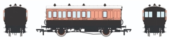 H4-4BT-1301BL 4 wheel brake 3rd in LSWR Salmon and Brown - with working lighting