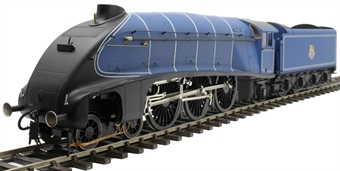 H7-A4-006B Class A4 4-6-2 unnumbered with single chimney and streamlined non-corridor tender in BR Express blue 1949-1952