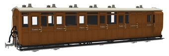 LHT-7NP-007D Lynton & Barnstaple brake composite No.15 in L&B red and ivory - 1901 - 1922 condition - Digital fitted
