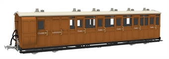 LHT-7NP-010D Lynton & Barnstaple brake third No.16 in L&B red and ivory - 1897 - 1901 condition - Digital fitted