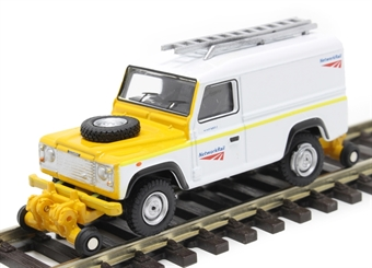 """OR76ROR002 Land Rover Defender 110 with posable rail wheels - """"Network Rail"""" - non-motorised"""