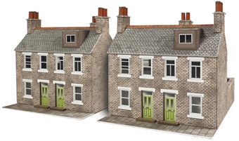 PN104 Terraced houses - stone - card kit