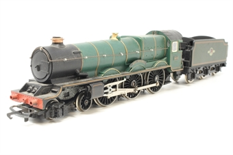 """R078King-PO48 King Class 4-6-0 6024 """"King Edward I"""" in GWR Green - Pre-owned - Sold as seen - Non-runner - Missing drawbar - Missing buffers - Tender body loose - Replacement box"""