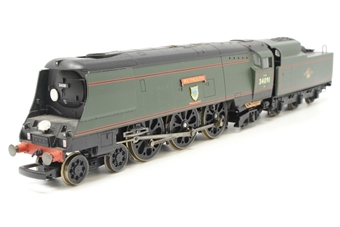 """R2282-PO21 West Country class 4-6-2 """"Weymouth"""" 34091 in BR green with late emblem - Pre-owned - DCC Fitted - Poor runner - Missing coupling hook - Route discs added - Damaged ladder on tender - Fair box"""