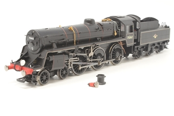 R2715-PO16 Standard Class 4 75062 4-6-0 in BR Black with late crest - Pre-owned - Broken chimney and one buffer, included - Added route disc - Missing one coupling hook - Fair box