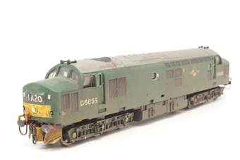 R2775-PO14 Class 37 D6655 in BR green - Pre-owned - DCC fitted - renumbered, repainted and weathered - buffer beams detailed - cosmetic lamps added to each end - worn decals - good box